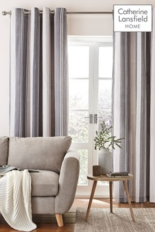 Herringbone Stripe Eyelet Curtains by Catherine Lansfield
