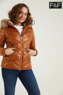 F&F Wetlook Padded Toffee Coat