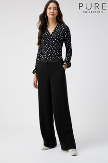 Pure Collection Black Satin Trim Wide Leg Trousers