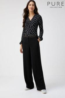 Pure Collection Black Satin Trim Wide Leg Trousers