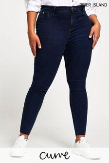 River Island Plus Denim Dark Molly Mid Rise Fettuccine Jeans