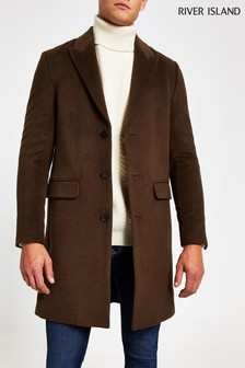 River Island Brown Chocolate Peak Label Overcoat