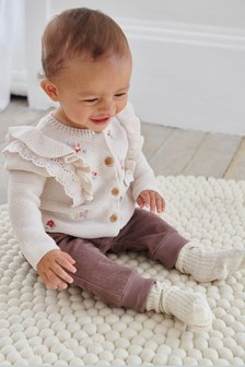 Floral Embroidered Frill Sleeve Cardigan (0mths-2yrs)