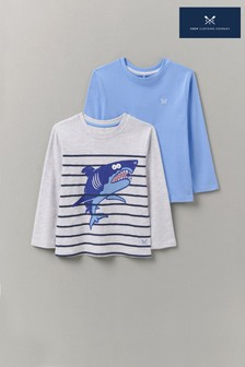Crew Clothing Company 2 Pack Long Sleeve Shark & Plain Printed T-Shirts