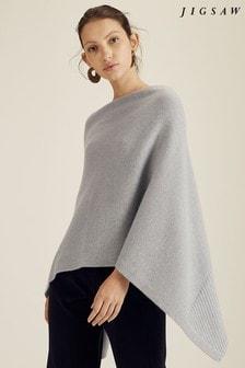 Jigsaw Grey Velvet Cashmere Poncho
