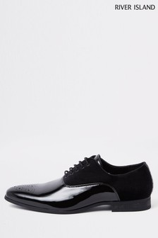 River Island Black Riley Mixed Formal Shoes