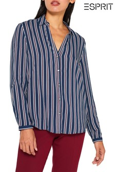Esprit Blue Casual Blouse With Contrast Stripes