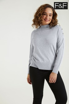 F&F Grey Button Turtle Neck Jumper