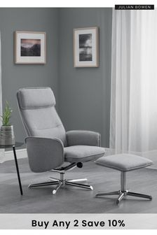 Aria Recliner and Stool Set by Julian Bowen