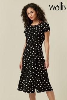 Wallis Black Polka Dot Cap Sleeve Midi Dress