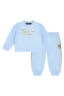 Baby Boys Blue Cotton Logo Tracksuit