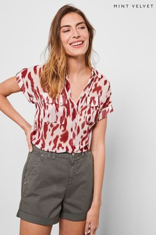 Mint Velvet Red Pia Print Resort Shirt