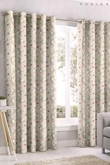 Fusion Aura Ditsy Floral Eyelet Curtains