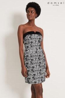 Damsel In A Dress Black Ally Jacquard Mini Dress