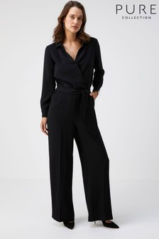 Pure Collection Black Belted Jumpsuit