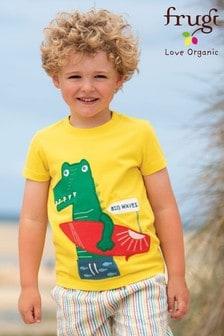 Frugi GOTS Organic Yellow Surfing Dinosaur Appliqué T-Shirt