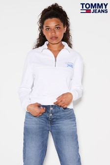 Tommy Jeans White Back Graphic Mock Neck Sweatshirt