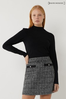 Warehouse Tweed Pelmet Mini Skirt