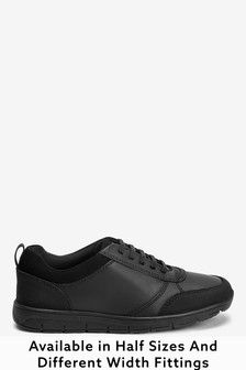 Thinsulate™ Lined Black Leather Lace-Up Shoes