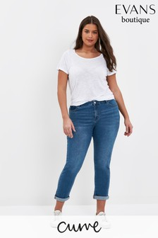 Evans Curve Regular Mid Wash Girlfriend Jeans