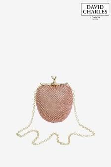 David Charles Pink Diamanté Apple Handbag