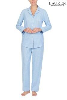 Lauren Blue Cotton Sateen Notch Collar Pyjama Set