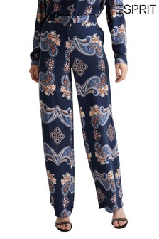 Esprit Blue Flared Woven Joggers With Print