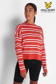 Lyle & Scott Paprika Orange Ribbed Stripe Jumper