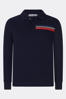 Boys Navy Blue Cotton Long Sleeve Polo Top