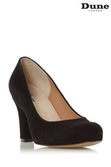 Dune London Ashen Black Suede Comfort Mid Block Heel Court Shoes