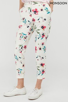 Monsoon Cream Maisy Print Slim Leg Trousers