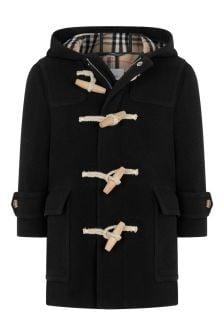 Boys Black Check Wool Coat