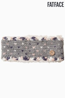 FatFace Grey Chunky V-Knit Headband
