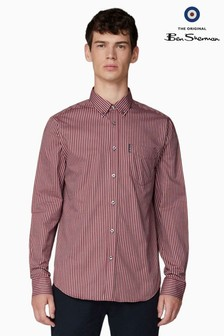Ben Sherman Red Long Sleeve Oxford Bengal Stripe Shirt