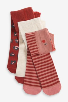 3 Pack Woodland Character Tights (0mths-2yrs)