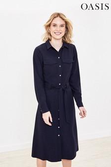 Oasis Blue Plain Shift Dress