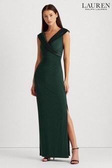 Lauren Ralph Lauren® Forest Green Draped Wrap Leonetta Maxi Dress