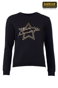 Barbour® International Black Gold Star Logo Spada Sweatshirt