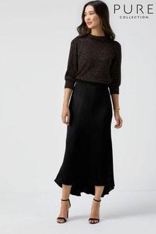 Pure Collection Black Satin Dipped Hem Skirt