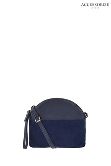 Accessorize Navy Leather Danie Dome Cross Body Bag