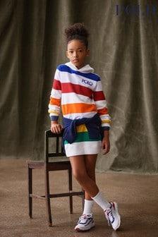 Ralph Lauren Multicoloured Stripe Logo Hooded Dress