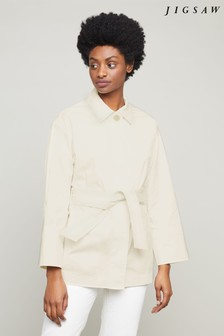 Jigsaw White Fine Drill Belted Jacket