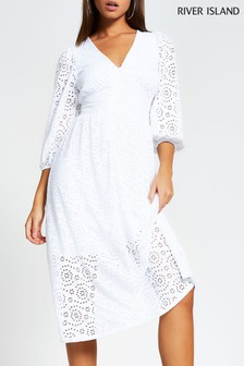 River Island White Broidery Midi Smock Dress