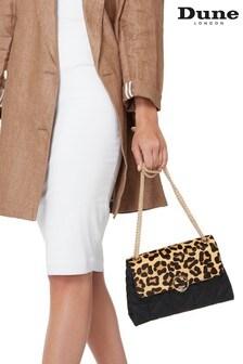 Dune London Ellenour Leopard Print Leather Quilted Shoulder Bag