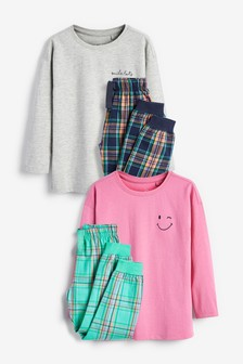 2 Pack Woven Bottoms And Soft Touch Jersey Top Pyjamas (3-16yrs)