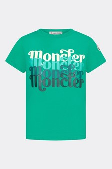 Moncler Enfant Boys Green Cotton T-Shirt