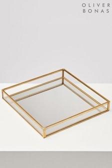 Oliver Bonas Mirrored Lace Edge Jewellery Tray