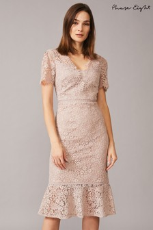 Phase Eight Neutral Lorella Lace Dress