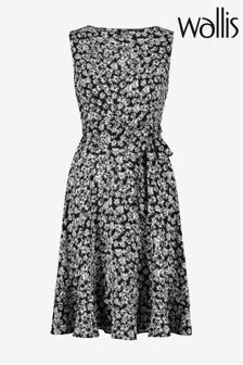 Wallis Black Petite Monochrome Floral Print Dress