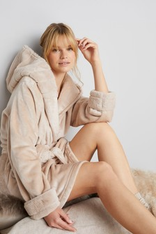 Faux Fur Trim Robe